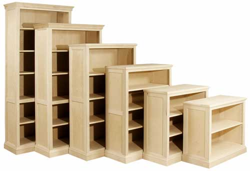 Quality wood furniture unfinished bookcases leesville for Unfinished furniture